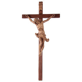 Crucifix croix droite sculpté Corpus Valgardena patiné s1