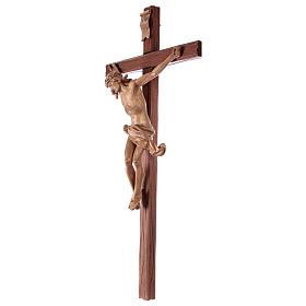 Crucifix croix droite sculpté Corpus Valgardena patiné s3