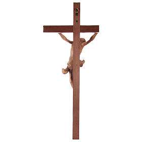 Crucifix croix droite sculpté Corpus Valgardena patiné s5