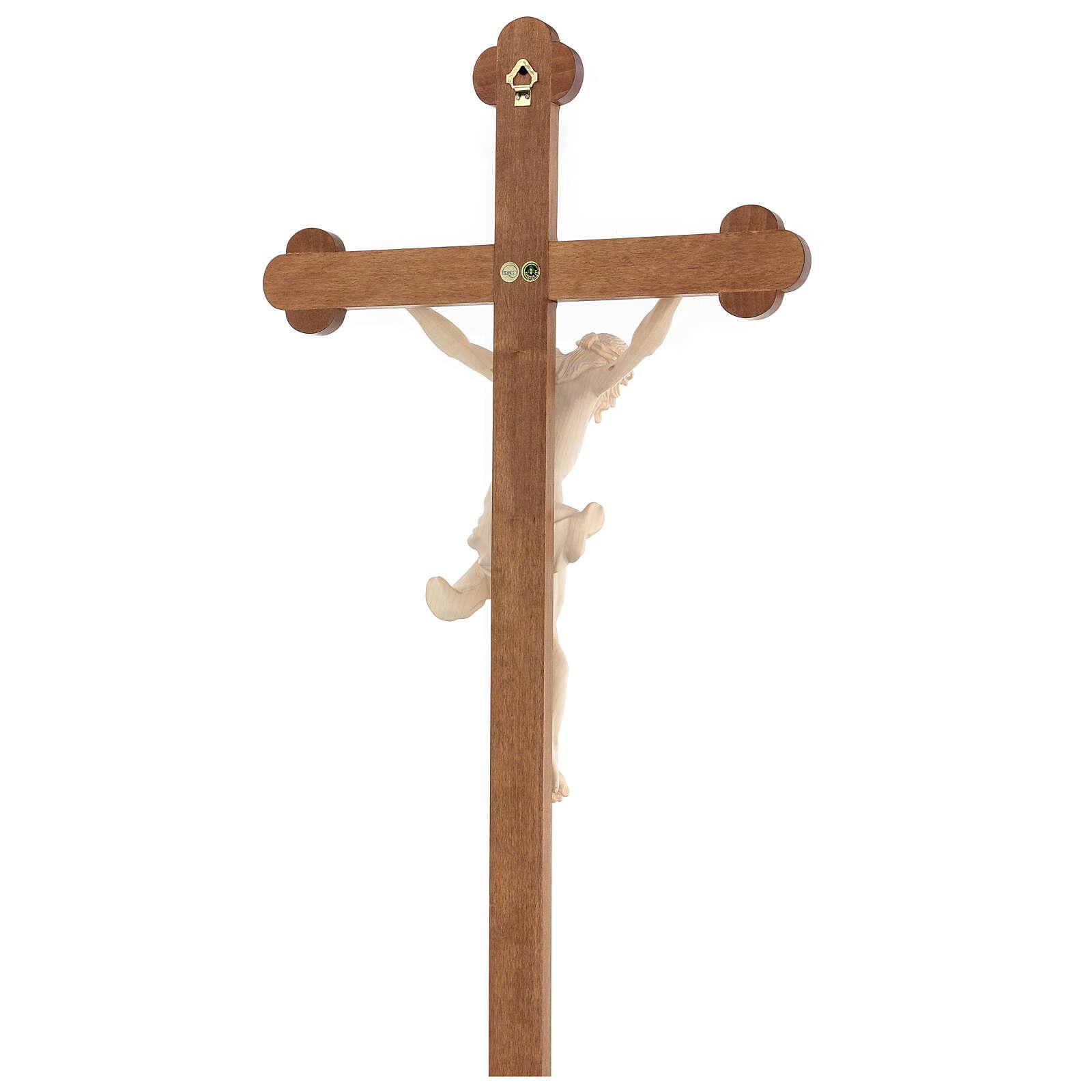 Crucifijo trilobulado Corpus madera Valgardena encerada 4