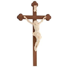 Crucifijo trilobulado Corpus madera Valgardena encerada s3