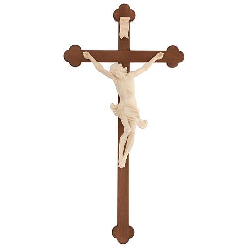 Crucifijo trilobulado Corpus madera Valgardena encerada 1