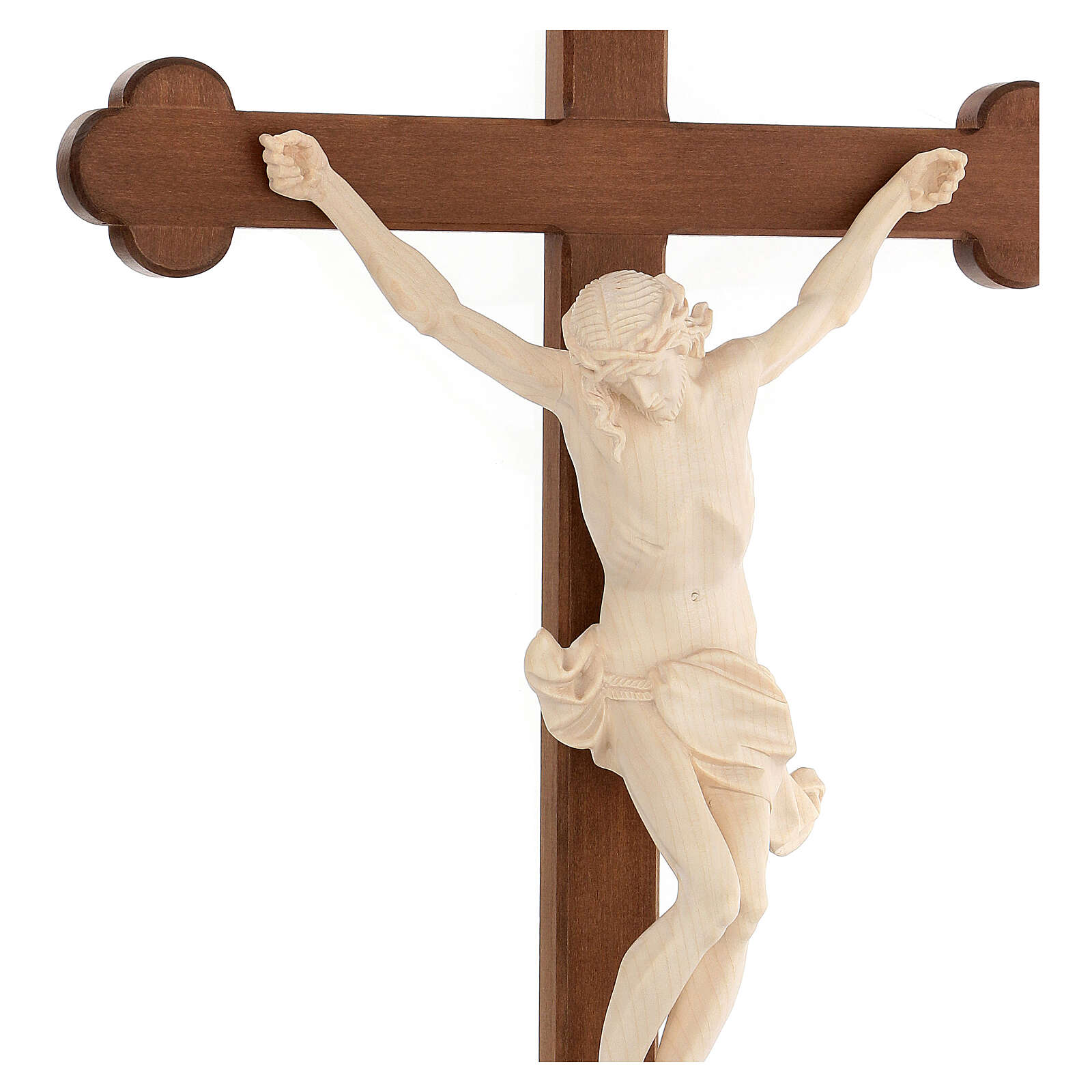 Corpus trefoil cross in natural wax Valgardena wood 4
