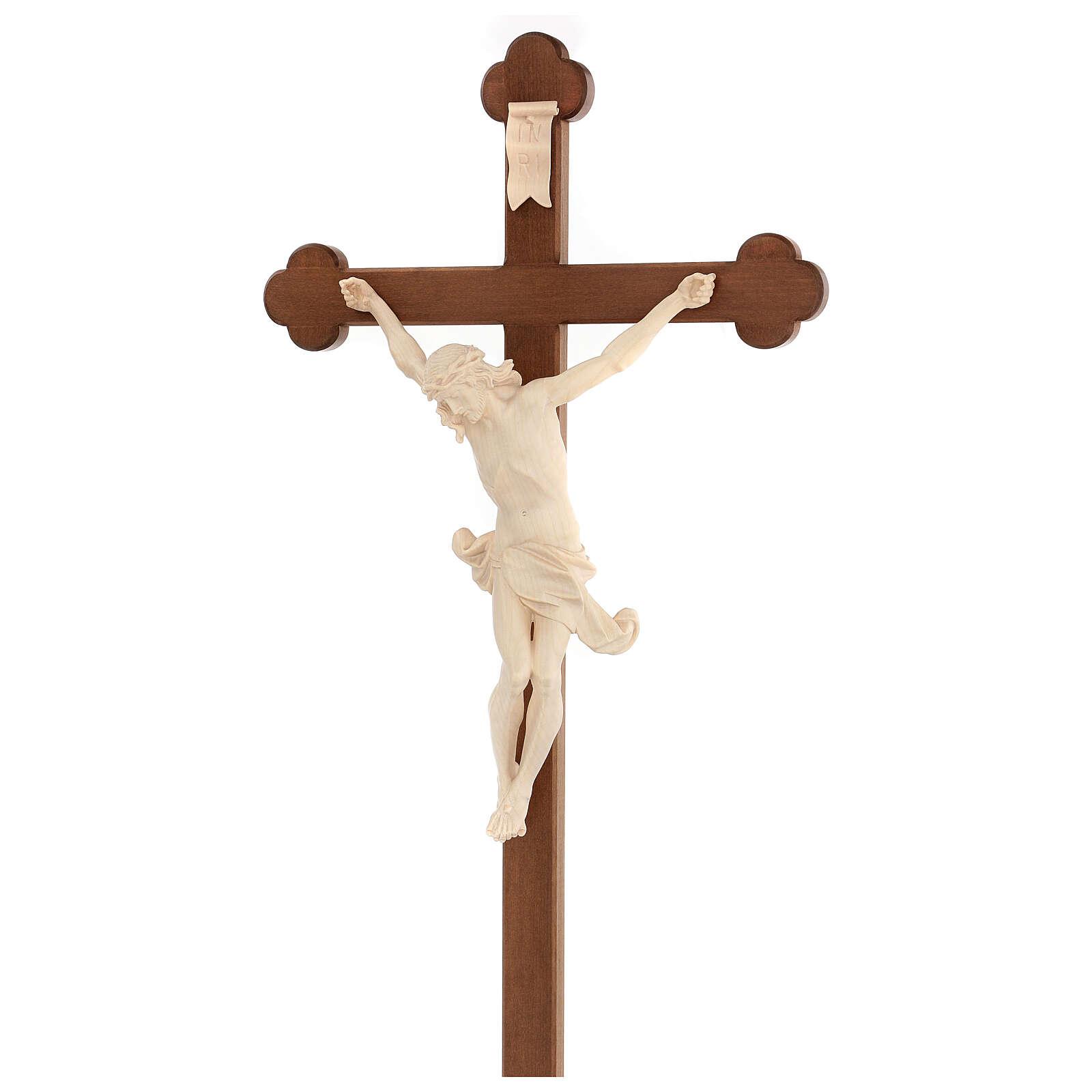 Corpus trefoil cross in natural wax Valgardena wood 4