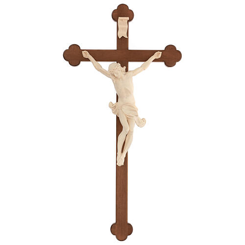 Corpus trefoil cross in natural wax Valgardena wood 1