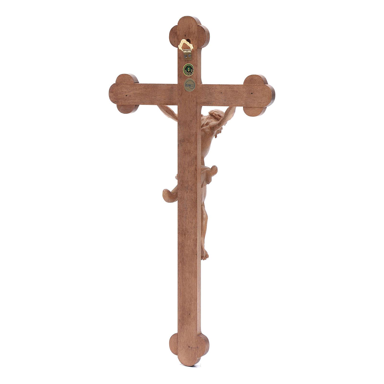 Krucyfiks zakończenia w kształcie koniczyny Corpus drewno Valgardena patynowany 4