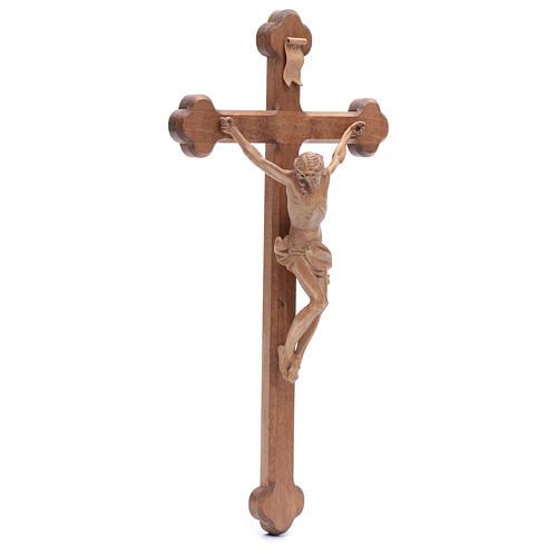 Krucyfiks zakończenia w kształcie koniczyny Corpus drewno Valgardena patynowany 3