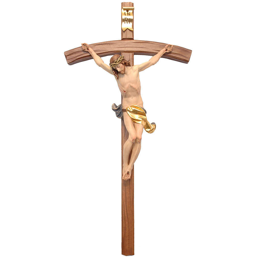 Crucifix croix courbe sculpté Corpus Valgardena 4