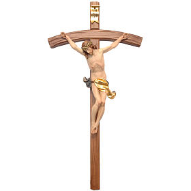 Crucifix croix courbe sculpté Corpus Valgardena s1
