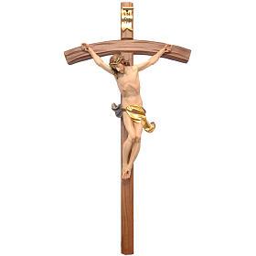 Crocifisso croce curva scolpita Corpus Valgardena s1