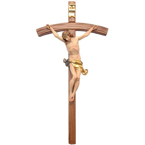 Crocifisso croce curva scolpita Corpus Valgardena 1
