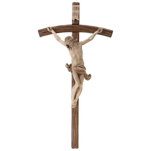 Corpus curved table cross, multi-patinated Valgardena wood 1