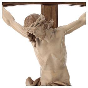 Crucifix bois patiné multinuances modèle Corpus, croix courbée s4