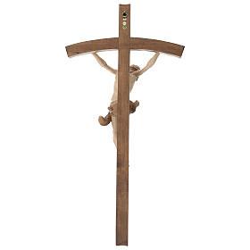 Crucifix bois patiné multinuances modèle Corpus, croix courbée s7