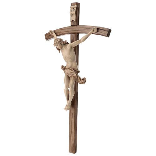 Crucifix bois patiné multinuances modèle Corpus, croix courbée 3