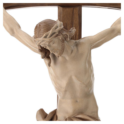 Crucifix bois patiné multinuances modèle Corpus, croix courbée 4