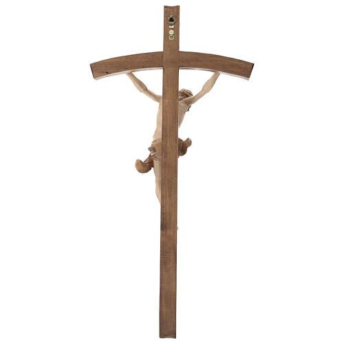 Crucifix bois patiné multinuances modèle Corpus, croix courbée 7
