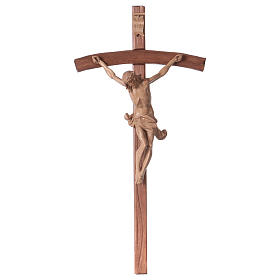 Wooden crucifixes: Corpus curved table cross, patinated Valgardena wood