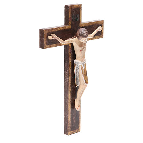 Romanesque crucifix, antique gold Valgardena wood 65cm 4