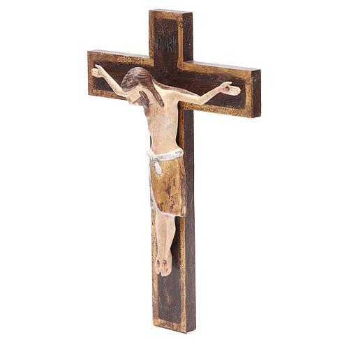 Crucifijo románico 65cm, madera Valgardena Antiguo Dorado 2