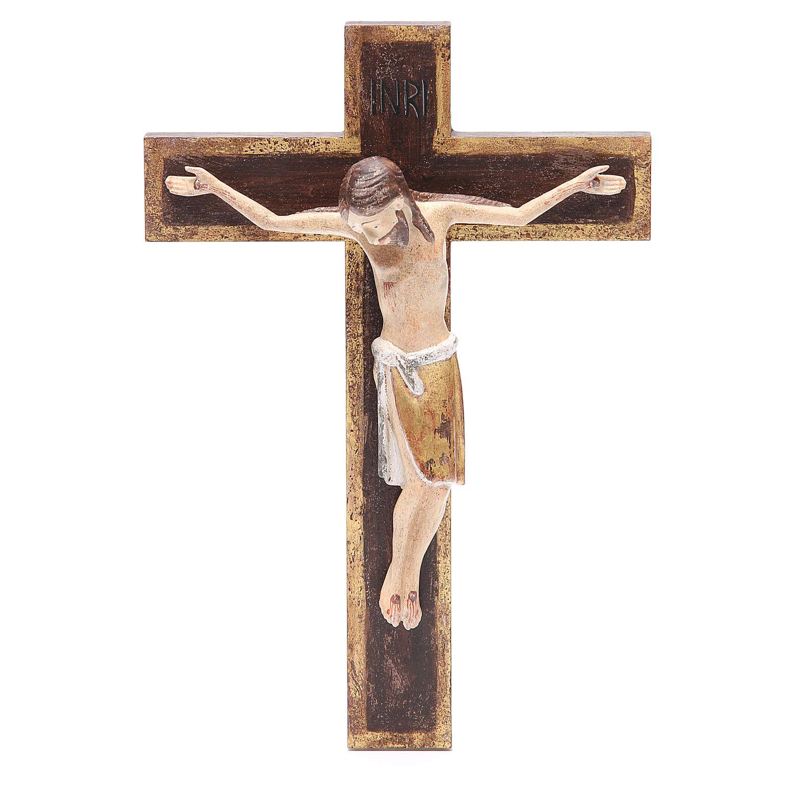 Crocifisso romanico legno Valgardena 65 cm Antico Gold 4