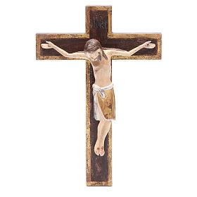 Crucifixo românico madeira Val Gardena 65 cm Antigo Gold s1