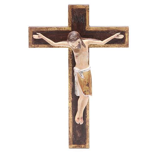 Romanesque crucifix, antique gold Valgardena wood 65cm 1