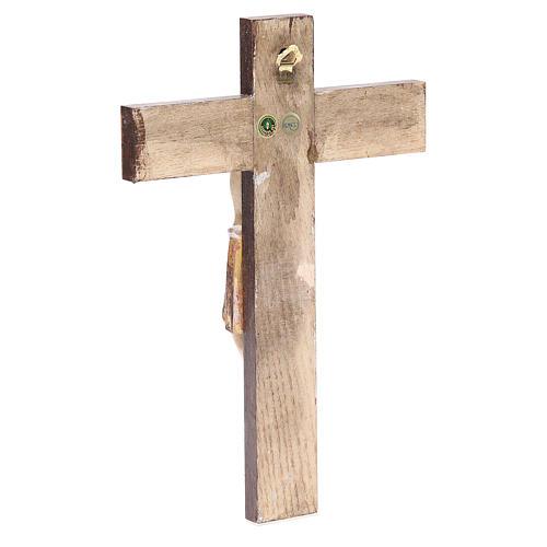 Romanesque crucifix, antique gold Valgardena wood 65cm 3