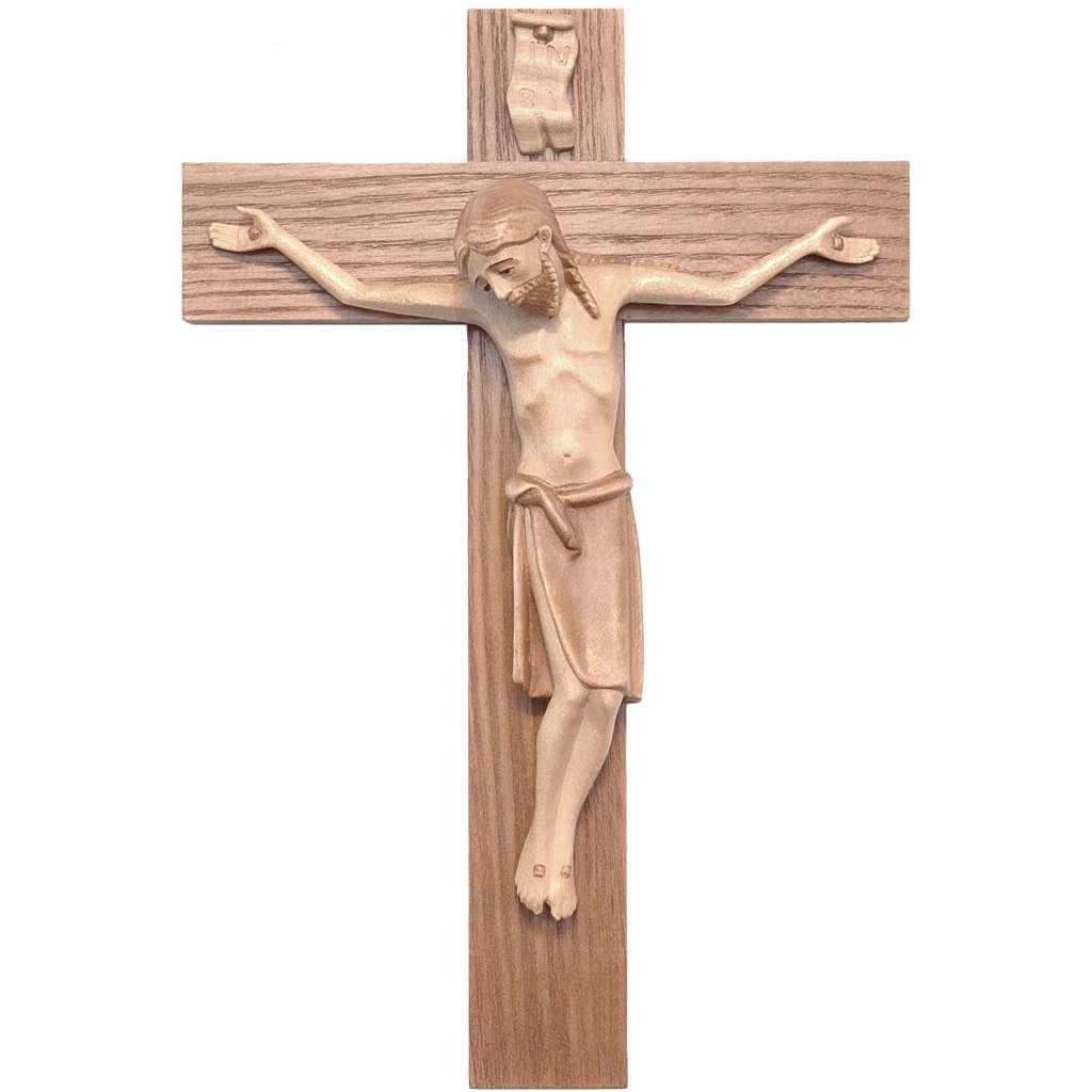 Crucifix roman bois patiné multinuances Valgardena 4