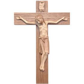 Crucifix roman bois patiné multinuances Valgardena s1
