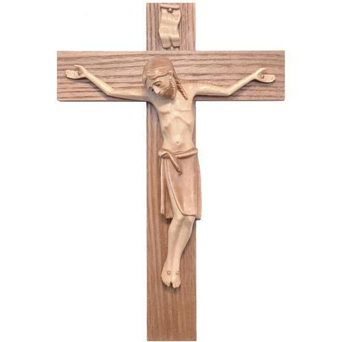 Crucifix roman bois patiné multinuances Valgardena 1
