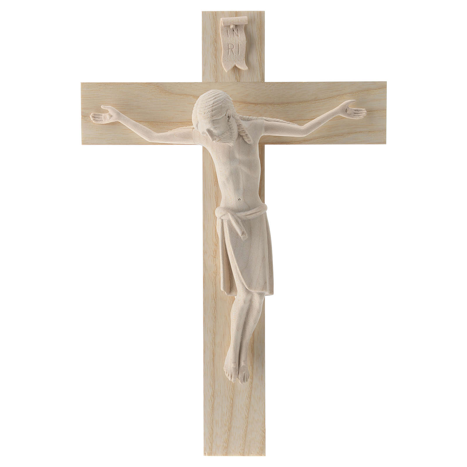Crucifix in Romanesque style, natural Valgardena wood 4