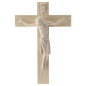 Crucifix in Romanesque style, natural Valgardena wood s1