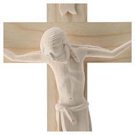Crucifix in Romanesque style, natural Valgardena wood s2