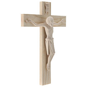 Crucifix in Romanesque style, natural Valgardena wood s4