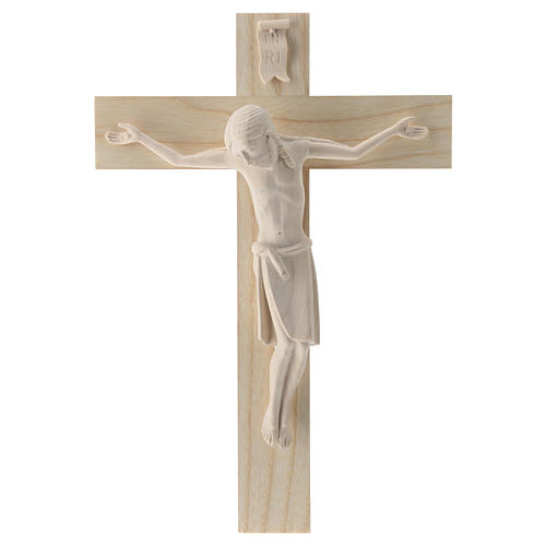 Crucifix in Romanesque style, natural Valgardena wood 1
