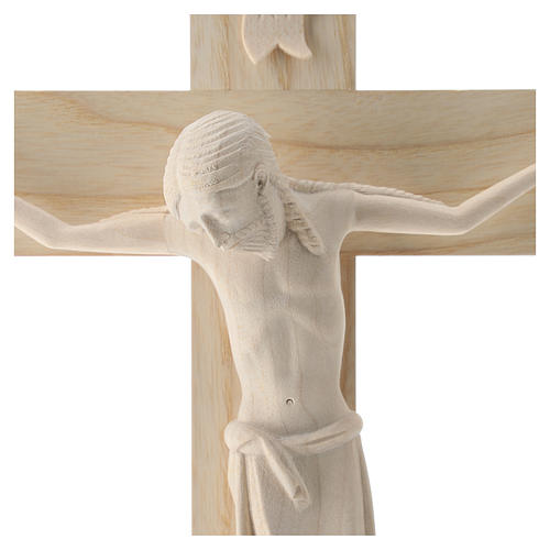 Crucifix in Romanesque style, natural Valgardena wood 2