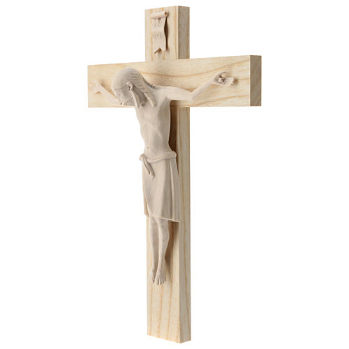 Crucifix in Romanesque style, natural Valgardena wood 3