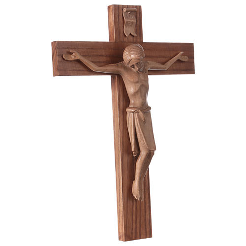 Crucifix in Romanesque style, patinated Valgardena wood 4