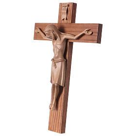 Crocifisso romanico legno Valgardena patinato s3