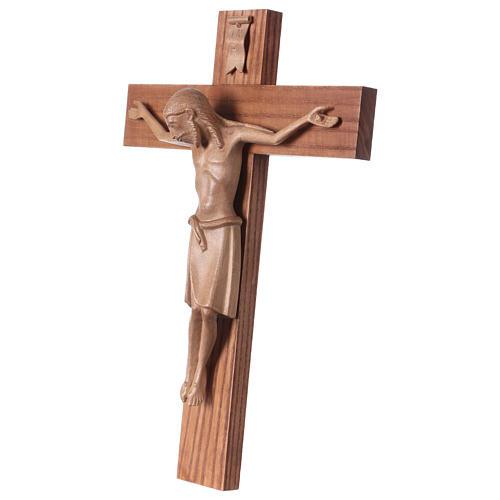 Crucifixo românico madeira patinada Val Gardena 3