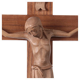 Crucifix in Romanesque style, patinated Valgardena wood s2