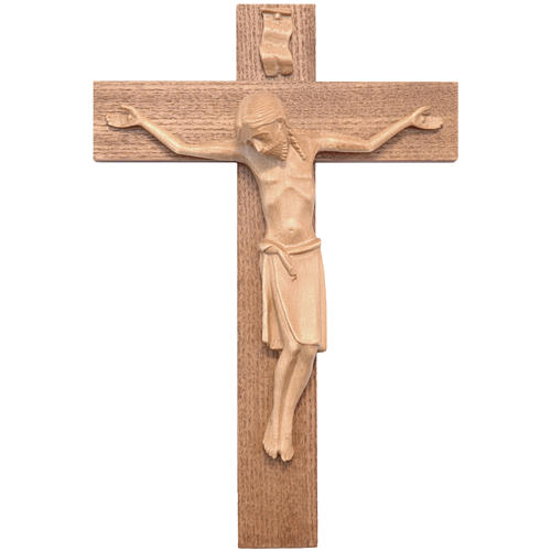Crucifix in Romanesque style, patinated Valgardena wood 1
