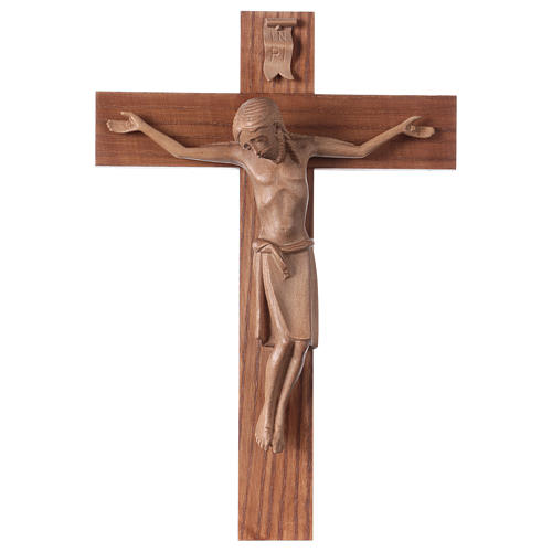 Crucifix in Romanesque style, patinated Valgardena wood 1