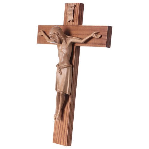 Crucifix in Romanesque style, patinated Valgardena wood 3