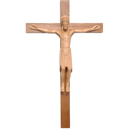 Crucifijo de Altenstadt románico, madera Valgardena patinada 1