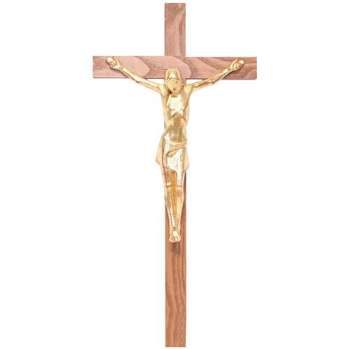 Stylised crucifix in Valgardena wood, gold 1
