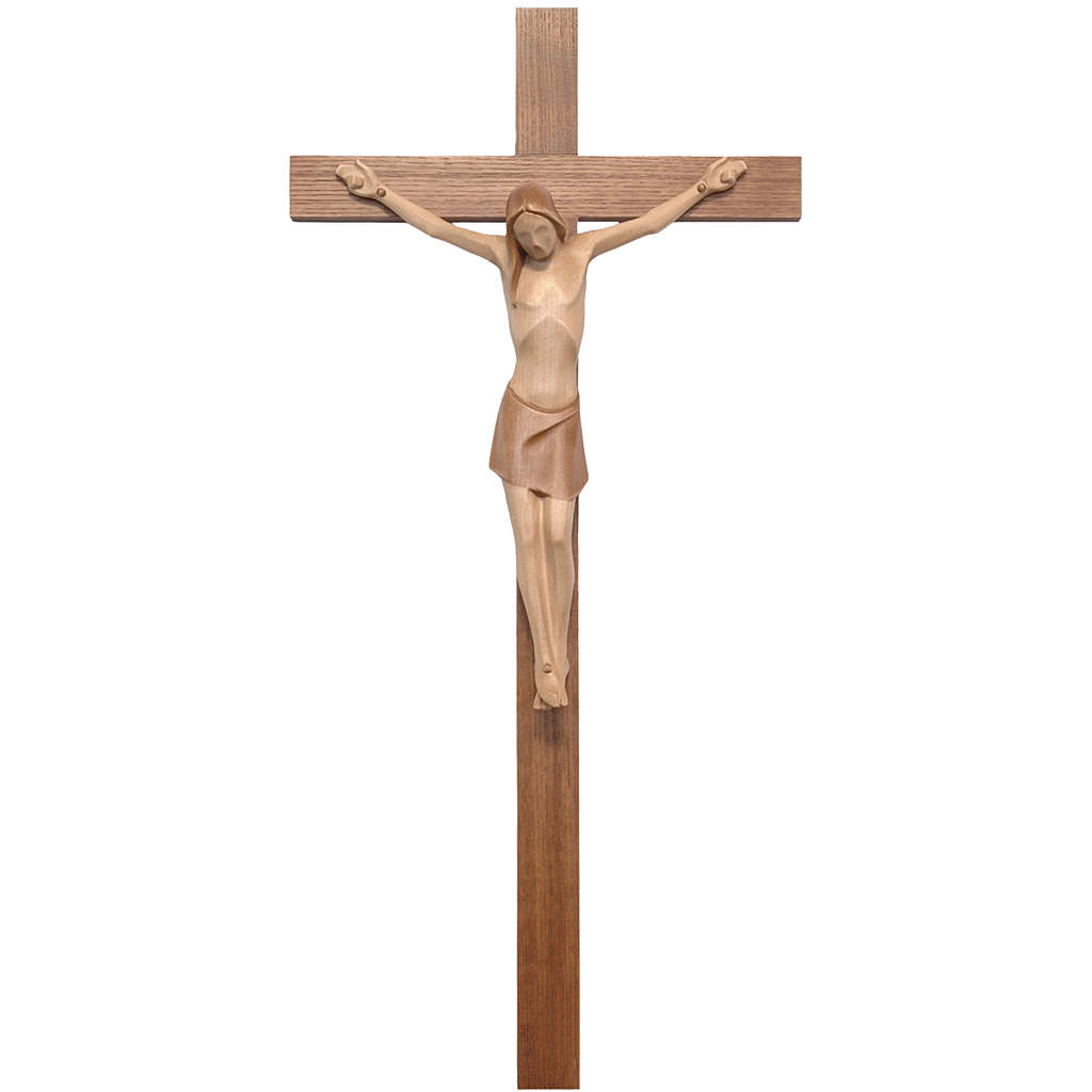 Stylised crucifix in Valgardena wood, multi-patinated 4