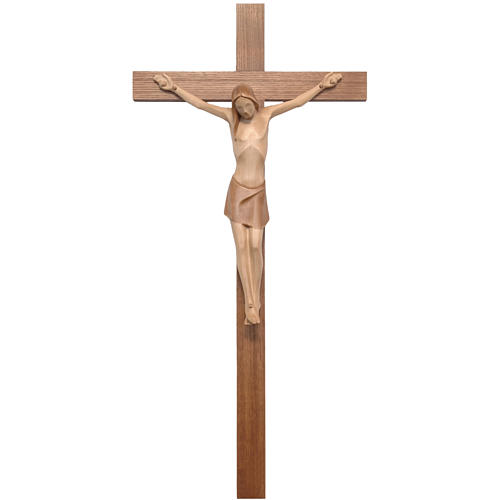 Stylised crucifix in Valgardena wood, multi-patinated 1
