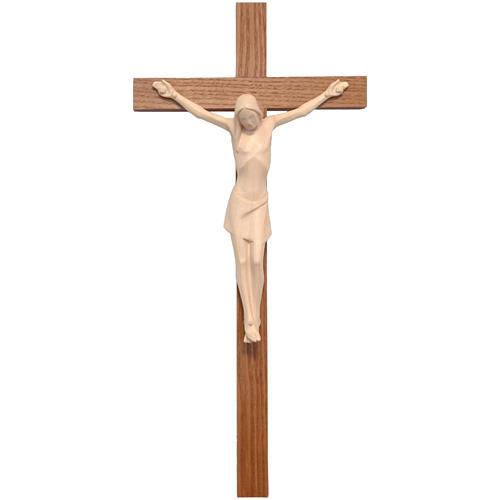 Crucifix stylisé bois naturel ciré Valgardena 1